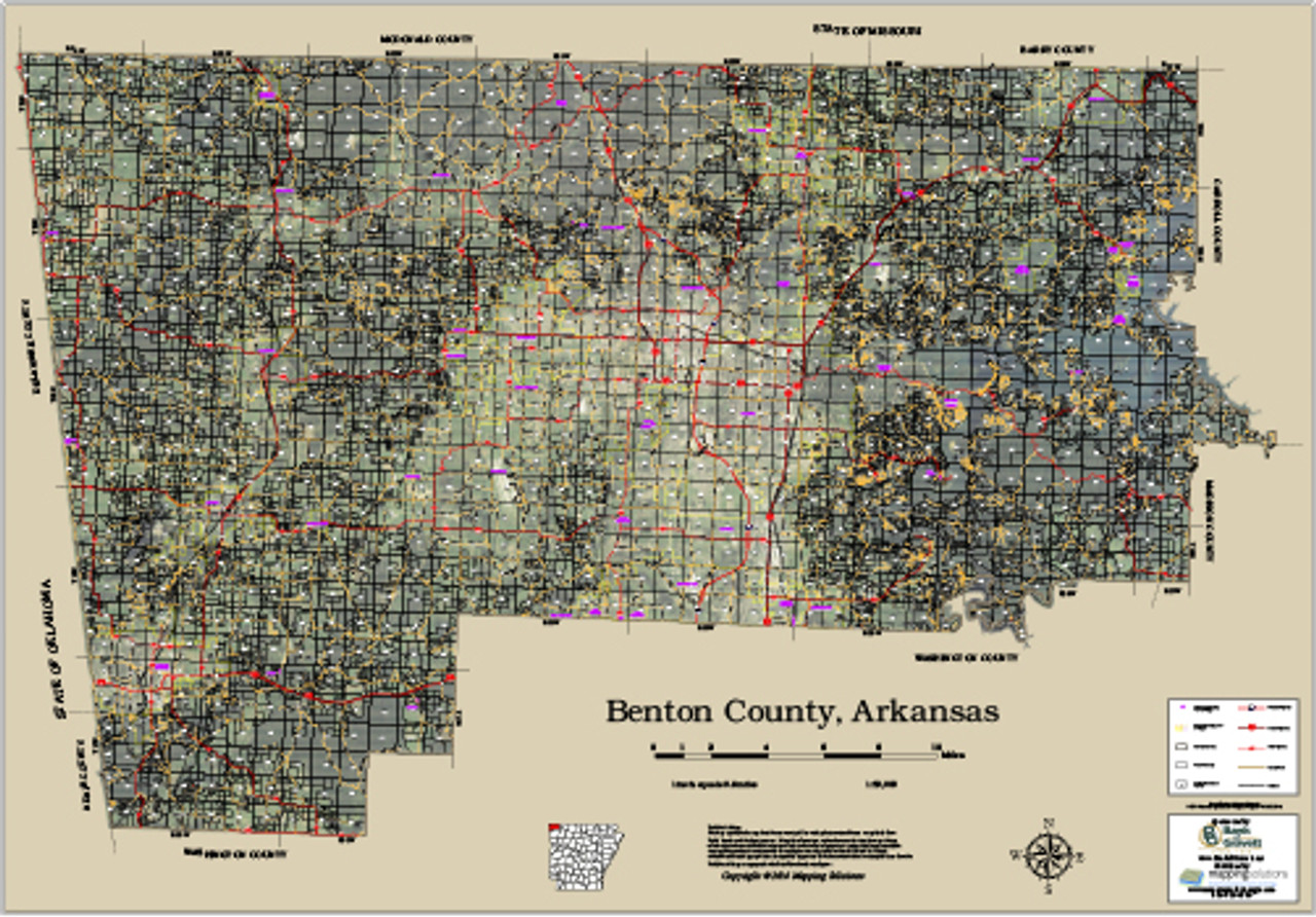 Benton County Parcel Map Benton County Arkansas 2016 Aerial Wall Map, Benton County Parcel