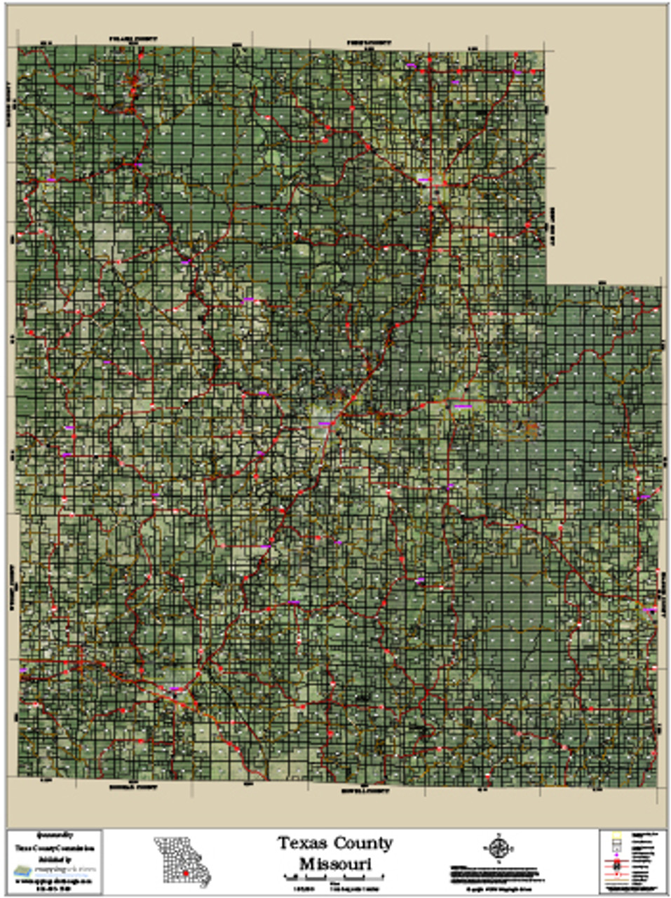 Map Of Texas County Lines.Texas County Missouri 2016 Aerial Map