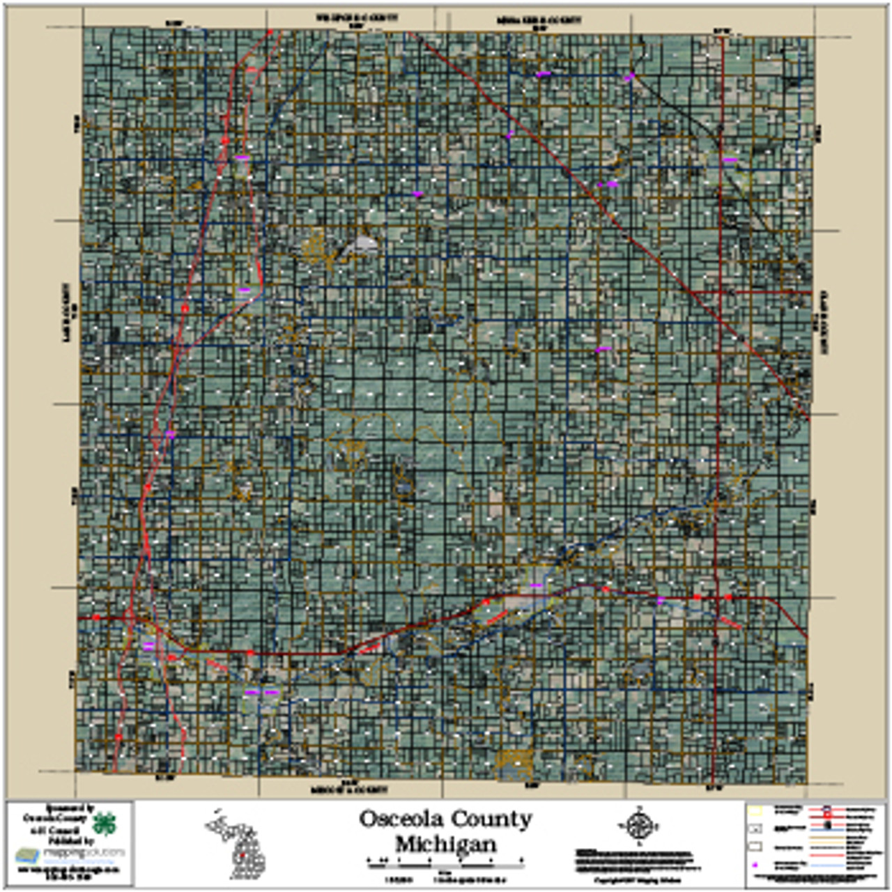 Osceola County Michigan 2017 Aerial Wall Map