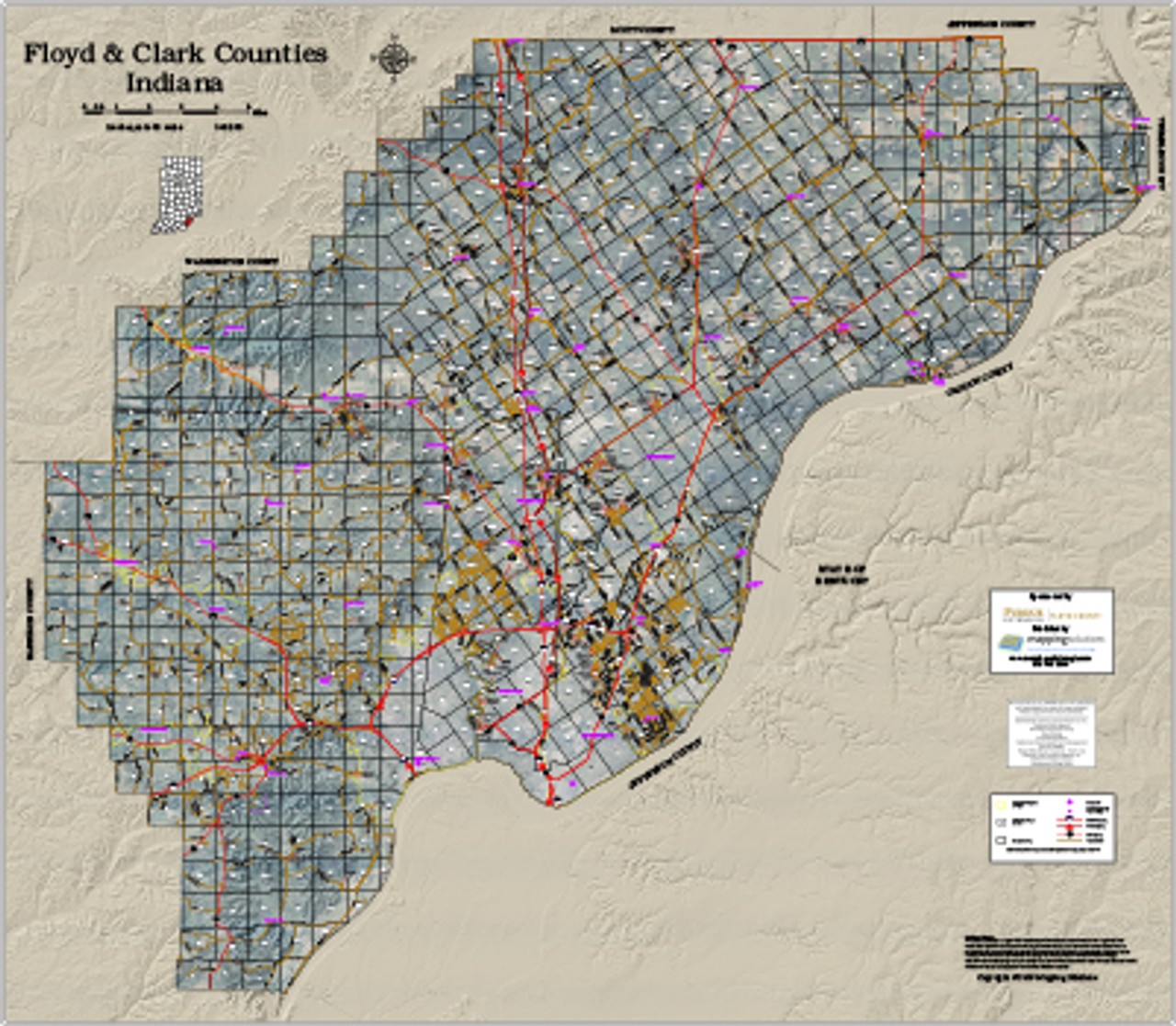 Floyd-Clark Counties Indiana 2018 Aerial Wall Map on database mapping, topographic mapping, community development mapping, technology mapping, gps mapping, internet mapping, network mapping, landscape architecture mapping, spatial mapping, geo mapping, data mapping, training mapping, web mapping, invasive species mapping, communication mapping, environmental mapping, land suitability mapping, geospatial mapping,