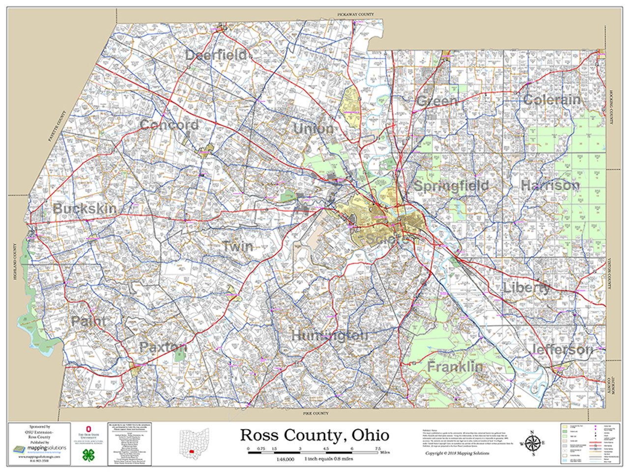 Ross County Ohio 2018 Wall Map