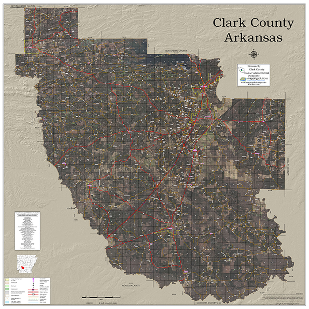 Clark County Arkansas 2018 Aerial Wall Map on las vegas valley map, william clark map, clark island map, clark school map, clark sd map, north las vegas map, clark colorado map, las vegas township map, nevada map, sandy valley map, ohio map,