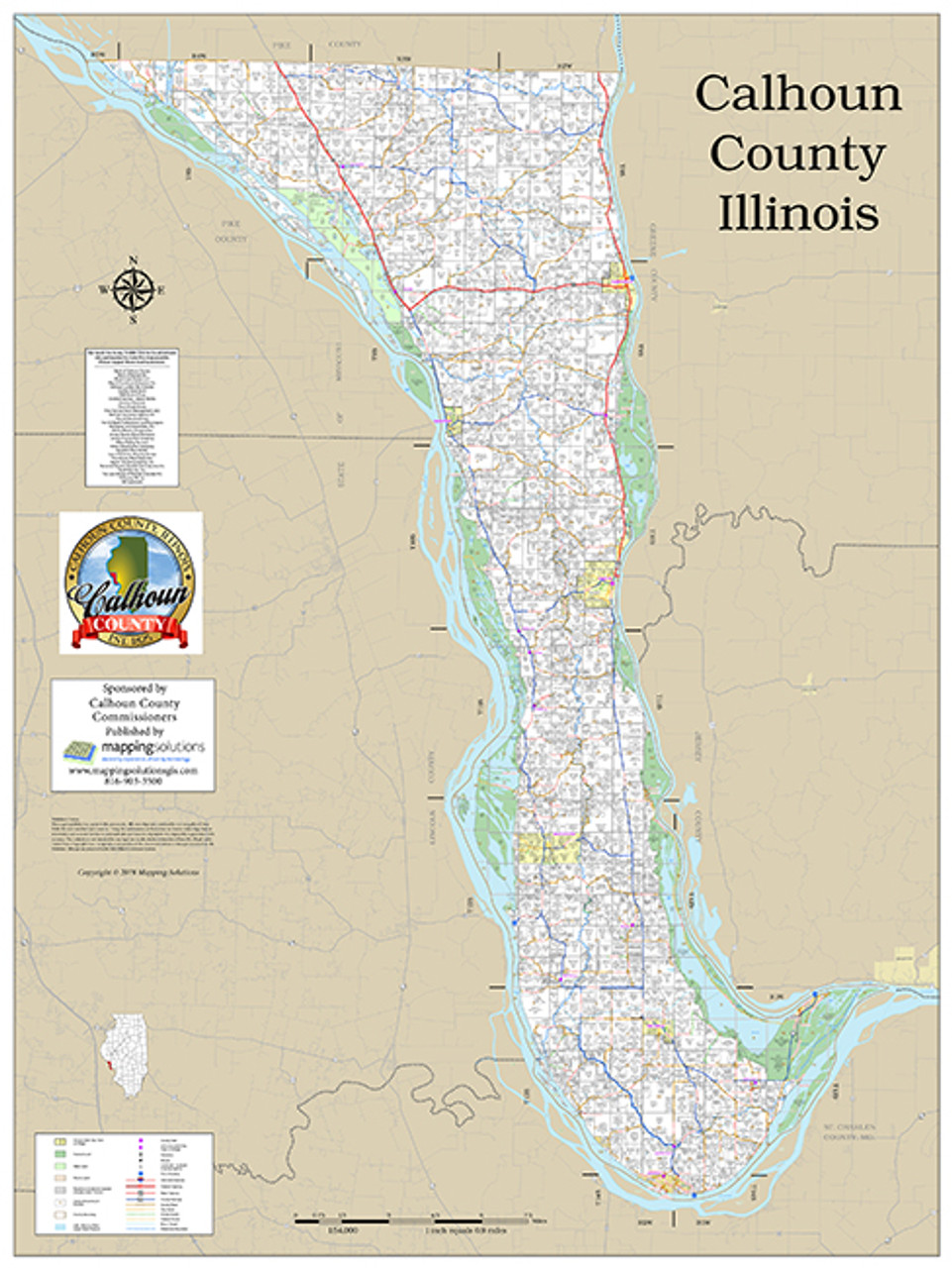 Calhoun County Illinois 2018 Wall Map | Mapping Solutions on