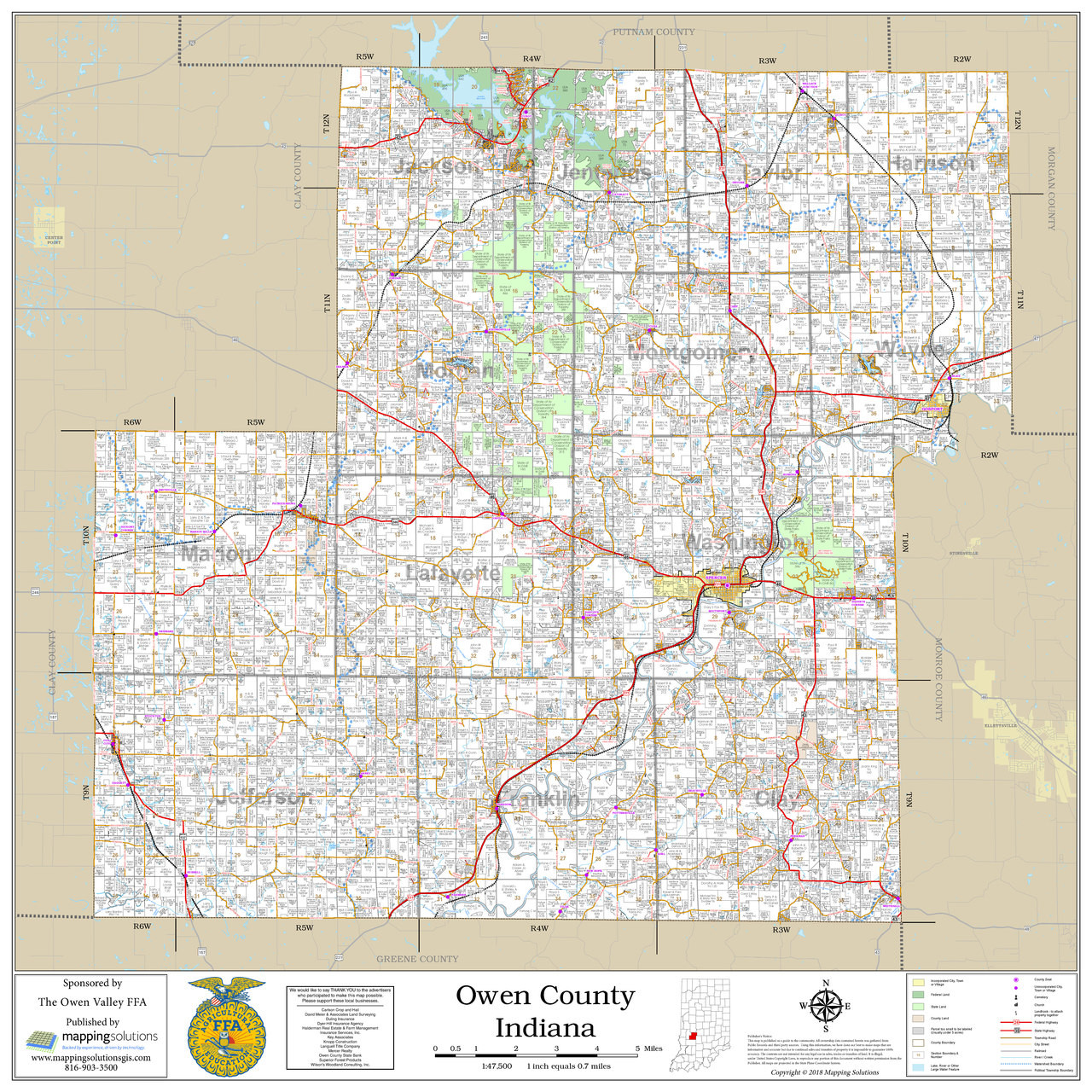 Owen County Indiana 2018 Wall Map on new south wales on a map, butler on a map, st. simons on a map, indiana flag, chicago on a map, lowell on a map, missoula on a map, dearborn on a map, kankakee on a map, harrisburg pennsylvania on a map, friendswood on a map, coosa river on a map, indiana on us map, franklin county on a map, brown county on a map, guangxi on a map, plains indians on a map, south williamsport on a map, kokomo on a map, vanderbilt on a map,