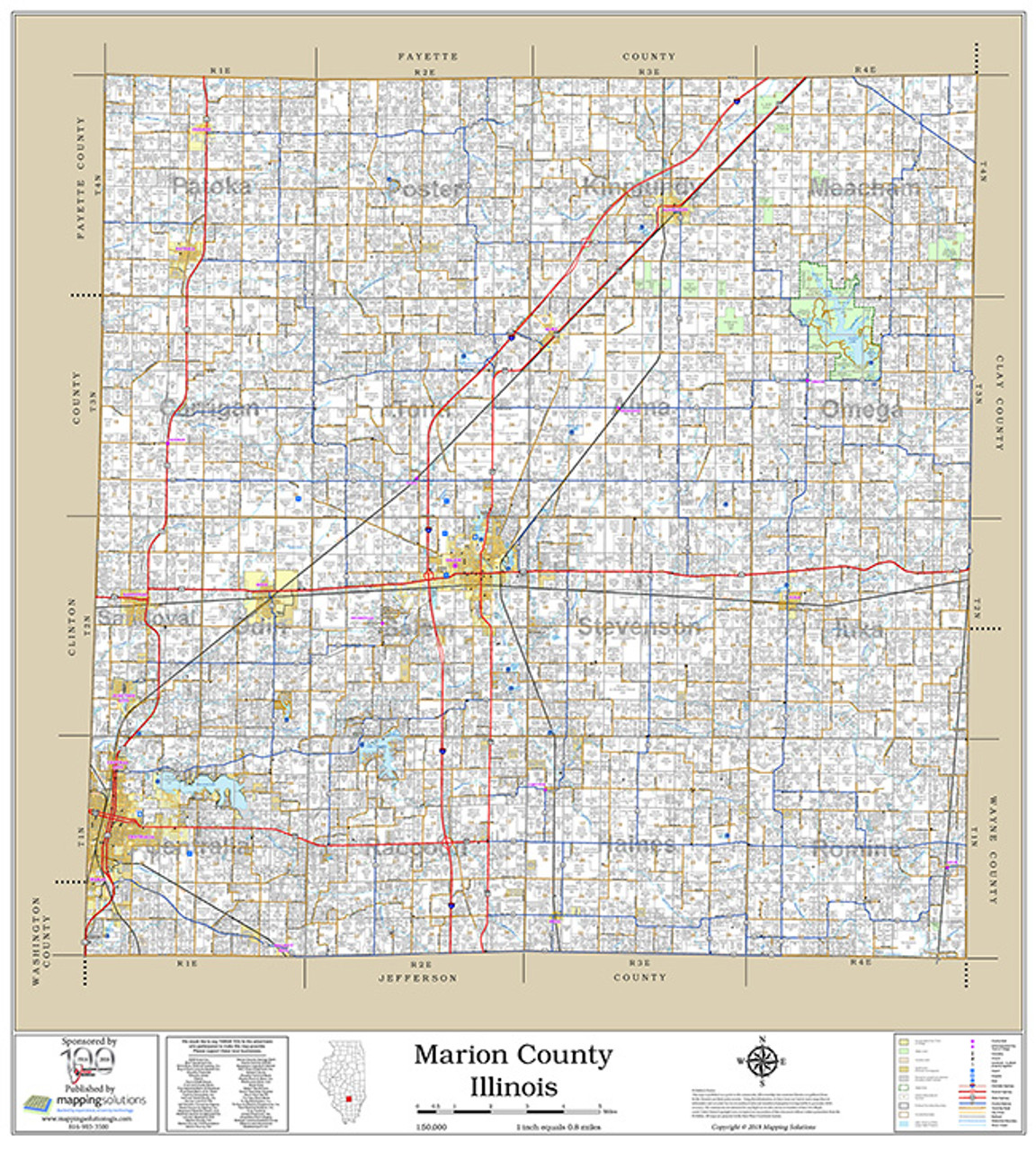Marion County Illinois 2018 Wall Map on map of marion ohio, mapquest marion il, marion city il, map of marion indiana, map of central falls ri,