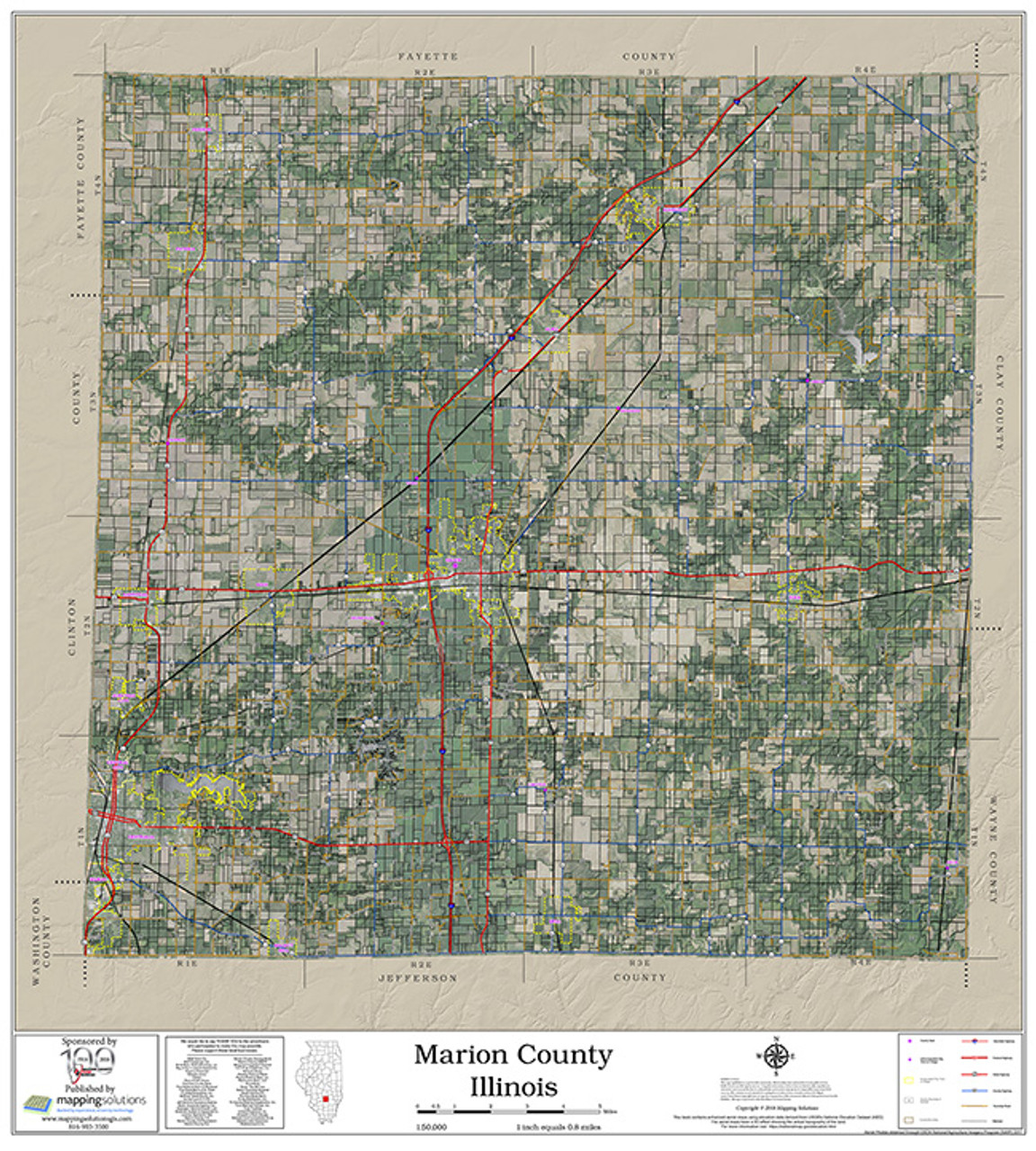 Marion County Illinois 2018 Aerial Wall Map on map of marion ohio, mapquest marion il, marion city il, map of marion indiana, map of central falls ri,