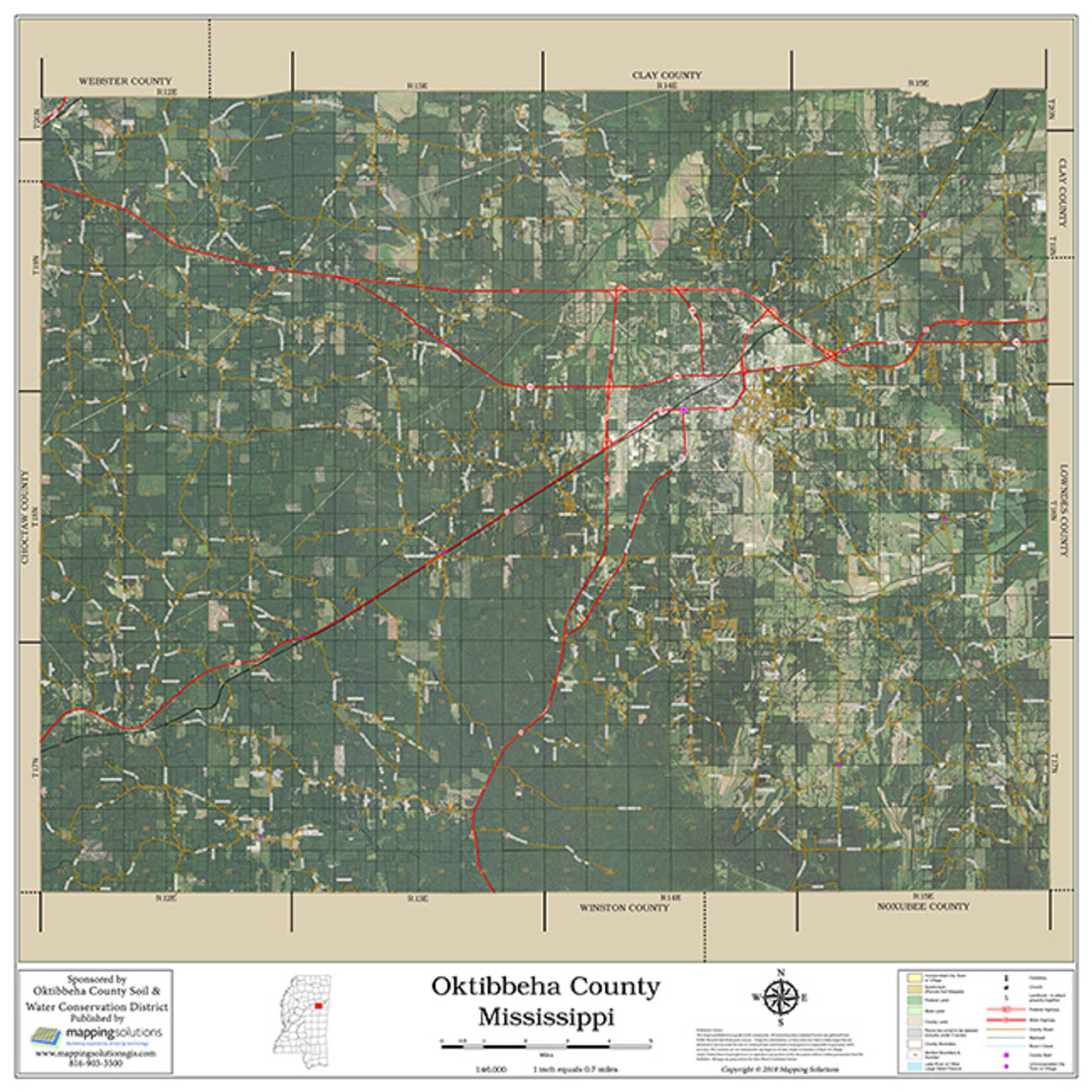 Picture of: Oktibbeha County Mississippi 2018 Aerial Wall Map Mapping Solutions
