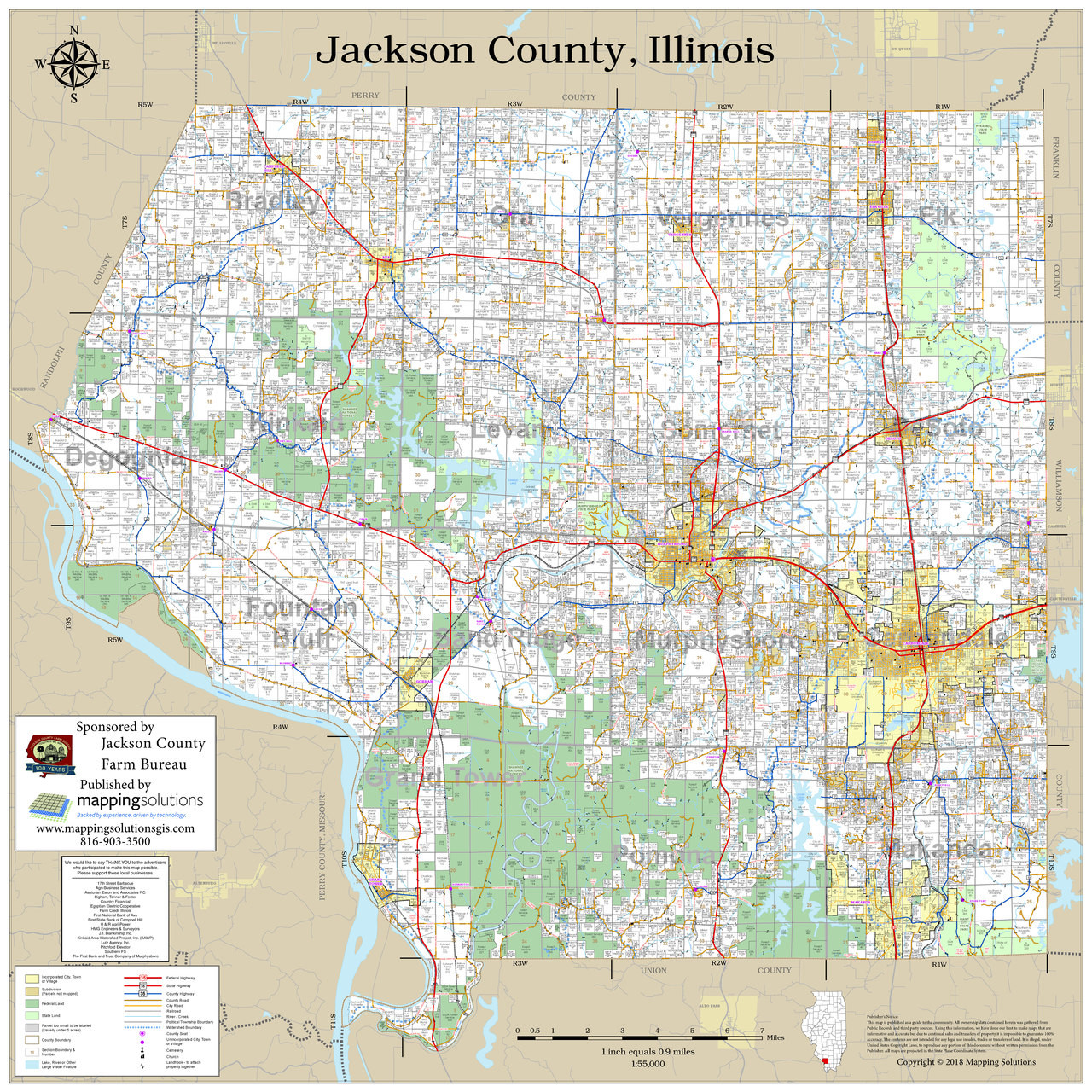 Jackson County Illinois 2018 Wall Map   Mapping Solutions on