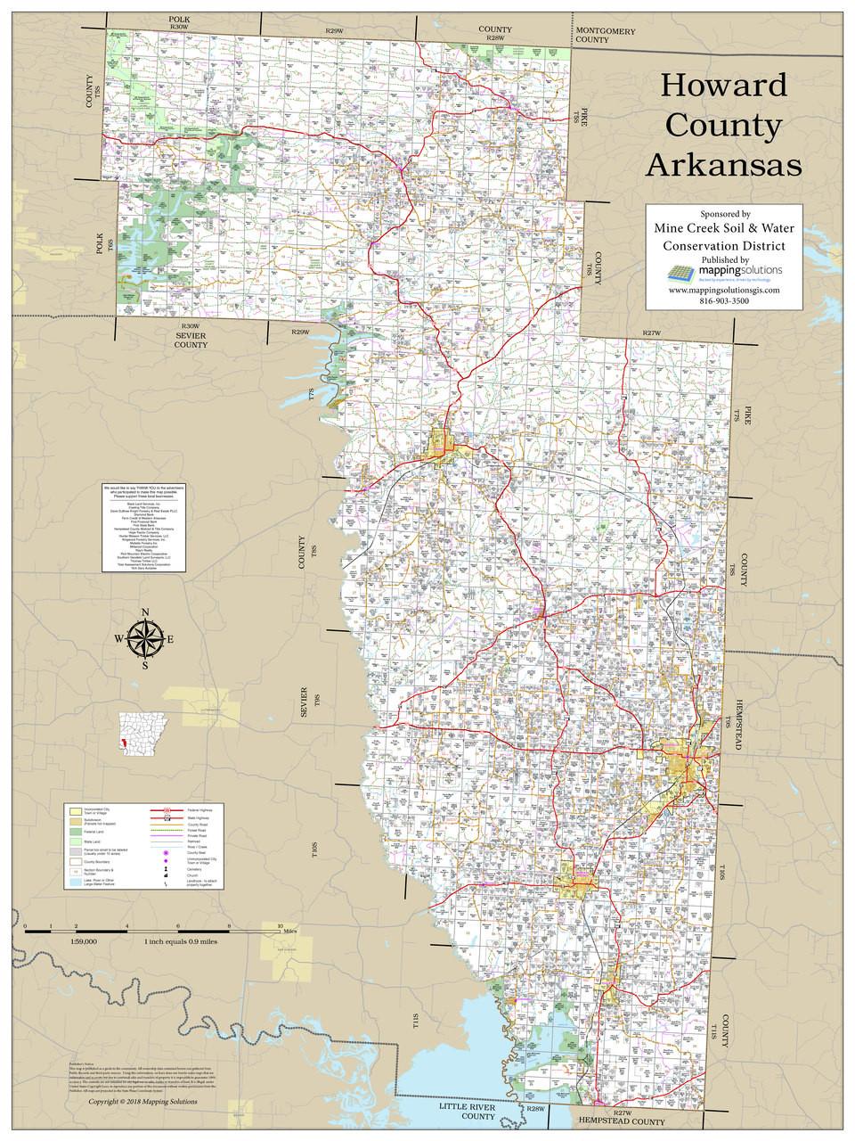 Howard County Arkansas 2018 Wall Map on map of damascus arkansas, map of washington arkansas, map of wineries in arkansas, map of arkadelphia arkansas, map of arkansas and missouri, map of malvern arkansas, map of all cities in arkansas, map of buffalo river arkansas, map of texarkana arkansas, map of texas and arkansas, map of montgomery pa, towns in polk county arkansas, map of washington county il, maps of creeks in arkansas, map of rogers arkansas, map of east end arkansas, map of mount ida arkansas, map of perryville arkansas, map of oak grove arkansas, detailed map of arkansas,