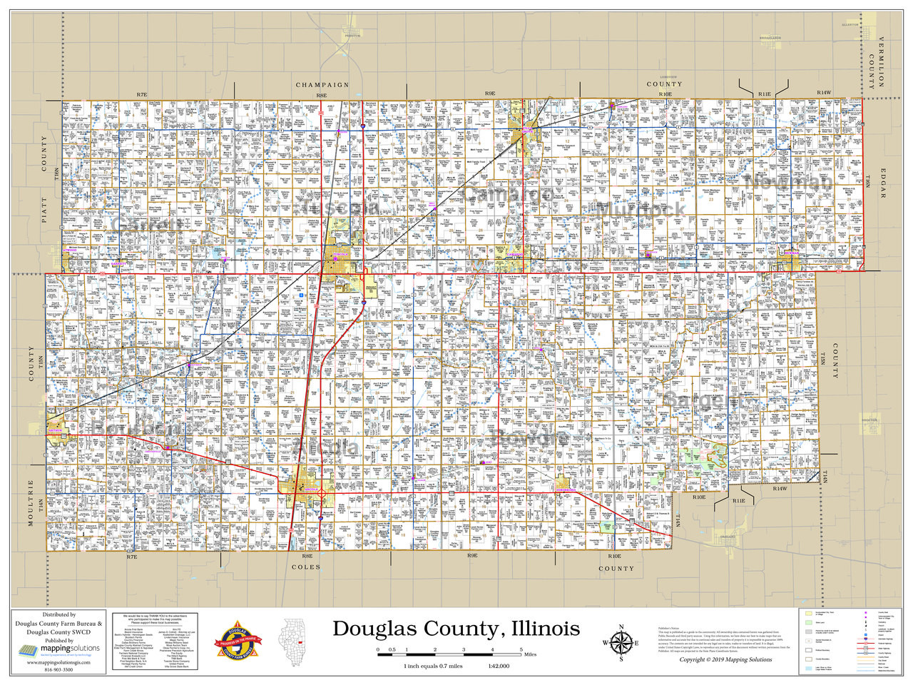 Douglas County Illinois 2019 Wall Map | Mapping Solutions on
