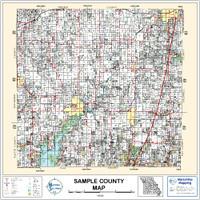 Bates County Missouri 2002 Wall Map