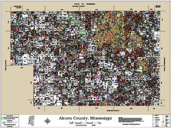 Alcorn County Mississippi 2016 Wall Map