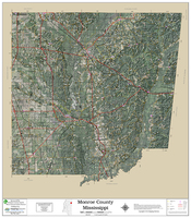 Monroe County Mississippi 2018 Aerial Wall Map