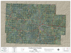 Coshocton County Ohio 2018 Aerial Wall Map