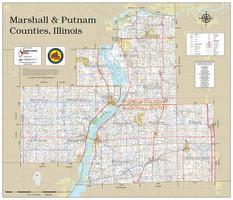 Marshall & Putnam Counties Illinois 2019 Wall Map