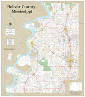 Bolivar County Mississippi 2019 Wall Map