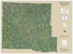 Cass County Missouri 2019 Aerial Wall Map