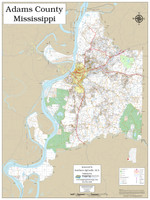 Adams County Mississippi 2019 Wall Map