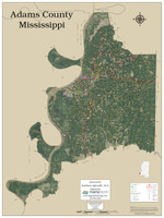 Adams County Mississippi 2019 Aerial Wall Map