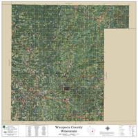 Waupaca County Wisconsin 2019 Aerial Wall Map