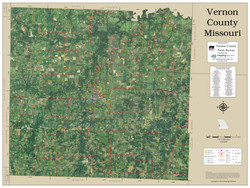 Vernon County Missouri 2019 Aerial Wall Map