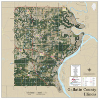 Gallatin County Illinois 2019 Aerial Wall Map