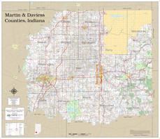 Martin-Daviess Counties Indiana 2019 Wall Map