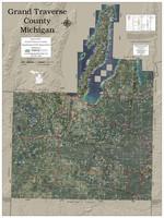 Grand Traverse County Michigan 2019 Aerial Wall Map
