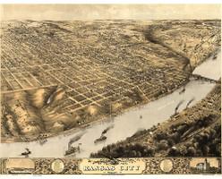 Kansas City,  Missouri 1869 Map