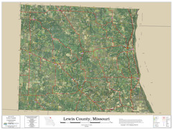 Lewis County Missouri 2019 Aerial Wall Map