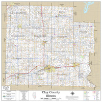 Clay County Illinois 2020 Wall Map