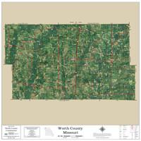 Worth County Missouri 2020 Aerial Wall Map
