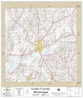 Leake County Mississippi 2020 Wall Map