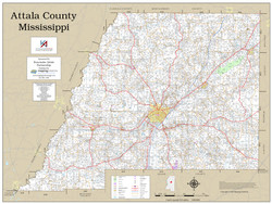 Attala County Mississippi 2020 Wall Map