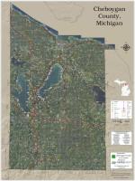 Cheboygan County Michigan 2021 Aerial Wall Map