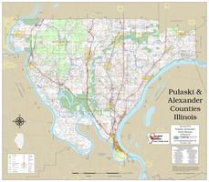 Pulaski-Alexander Counties Illinois 2020 Wall Map