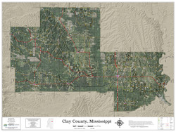 Clay County Mississippi 2021 Aerial Wall Map