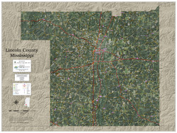 Lincoln County Mississippi 2021 Aerial Wall Map