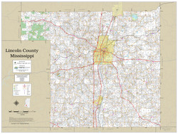 Lincoln County Mississippi 2021 Wall Map