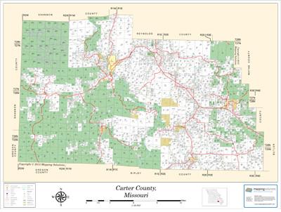 Carter County Missouri 2013 Wall Map