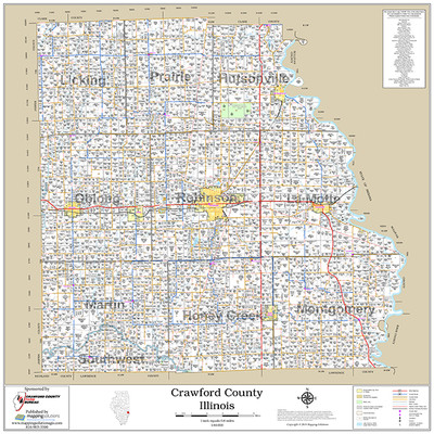 Crawford County Illinois 2018 Wall Map Crawford County Illinois