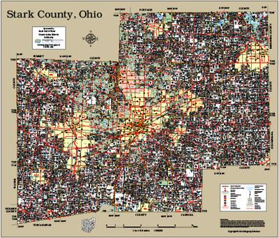 Stark County Ohio 2014 Wall Map