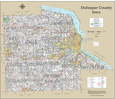 Dubuque County Iowa 2016 Wall Map