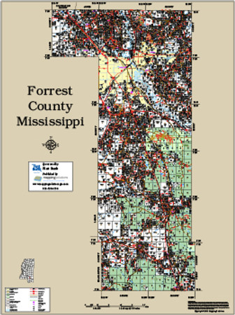 Forrest County Mississippi 2015 Wall Map