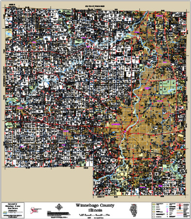 Winnebago-Boone Counties Illinois 2016 Wall Map