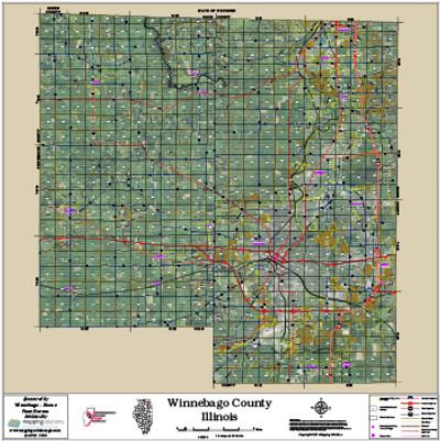 Winnebago-Boone Counties Illinois 2016 Aerial Wall Map