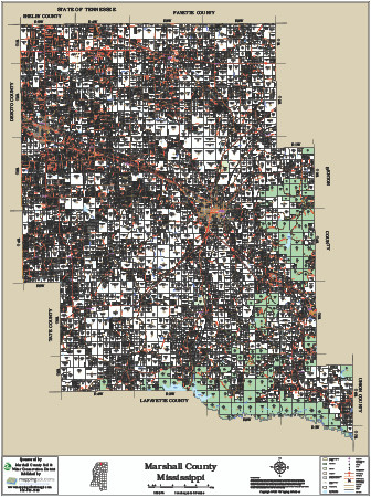 Marshall County Mississippi 2017 Wall Map