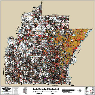 Hinds County Mississippi 2017 Wall Map
