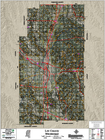 Lee County Mississippi 2017 Aerial Wall Map
