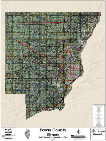 Peoria County Illinois 2018 Aerial Wall Map